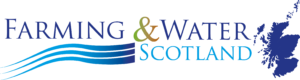 The Farming and Water Scotland logo with wavy blue lines and a dark blue image of the map of Scotland